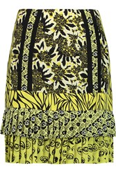 Etro Tiered Printed Silk Mini Skirt Yellow