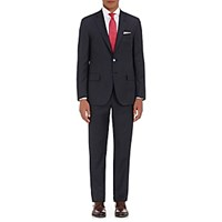 Isaia Men's Fine Striped Worsted Two Button Suit Navy