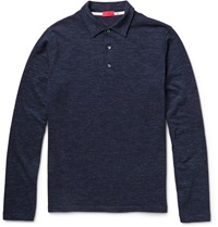 Isaia Wool And Cotton Blend Polo Shirt Blue
