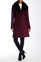 Soia And Kyo Faux Fur Collar Wool Blend Coat Red