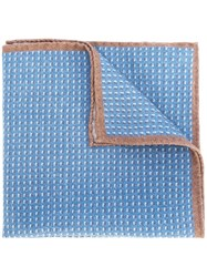 Eleventy Micro Pattern Pocket Square Blue