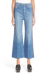Marc By Marc Jacobs Flare Crop Denim Trousers Authentic Blue W Piping
