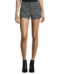 Alice Olivia Kristie Slim Fit Tweed Shorts Black White White Black