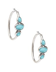 Lucky Brand Silvertone And Turquoise Stone Hoop Earrings Blue