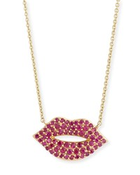Sydney Evan 14K Gold Ruby Lips Pendant Necklace Medium Size M Yellow Gold
