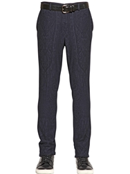 Etro 18.5Cm Wool And Cotton Jersey Trousers Blue