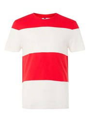 Topman White And Red Stripe T Shirt