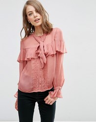 Asos Ultimate Pussy Bow Ruffle Blouse Blush Pink