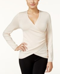Thalia Sodi Zipper Trim Faux Wrap Sweater Only At Macy's Shell Tan