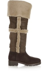 Tory Burch Talouse Textured Leather And Shearling Knee Boot Brown