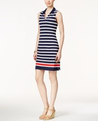 Charter Club Sleeveless Striped Polo Dress Only At Macy's Blue White