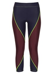 Laain Block Colour Cropped Performance Leggings Navy Multi