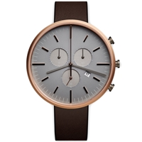 Uniform Wares M42 Chronograph Wristwatch Pvd Rose Gold And Brown Leather