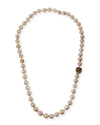 Stephen Dweck Long Champagne Pearl Single Strand Necklace