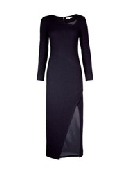 Carven Long Sleeve Side Slit Dress Navy