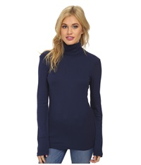 Splendid 1X1 Long Sleeve Turtleneck Navy Women's Long Sleeve Pullover