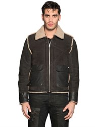 Diesel Patched Shearling Aviator Jacket