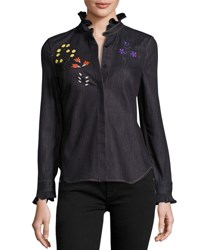 Fendi Floral Embroidered Denim Blouse Blue Denim