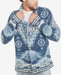 Denim And Supply Ralph Lauren Men's Southwestern Print Cardigan Blue
