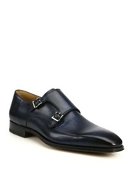 Saks Fifth Avenue By Magnanni Amelio Leather Double Monk Strap Shoes Navy