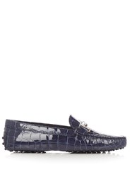 Tod's Gommini Crocodile Effect Leather Loafers Navy