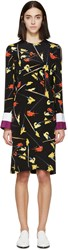 Emilio Pucci Black And Yellow Crepe Paintbrush Dress