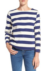 M.I.H. Jeans Women's Stripe Button Sleeve Cotton Tee