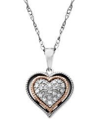 Macy's Diamond Heart Pendant Necklace In Sterling Silver 14K Rose Gold 1 10 Ct. T.W.