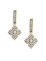 Freida Rothman Pave And 14K Yellow Gold Vermeil Snowflake Drop Earrings Gold Silver