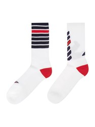 Armani Jeans 2 Pack Eagle And Stripe Sport Ankle Sock White