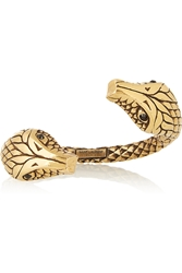 Saint Laurent Gold Plated Crystal Snake Cuff