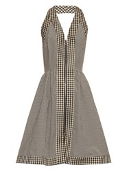 Isa Arfen Halterneck Checked Cotton Blend Dress