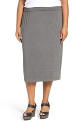 Eileen Fisher Plus Size Women's Foldover Stretch Jersey Midi Skirt Ash