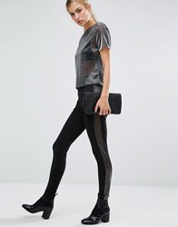 Miss Selfridge Side Mesh Legging Black
