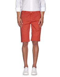 Manuel Ritz White Trousers Bermuda Shorts Men Red