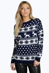 Boohoo Reindeers And Snowflake Christmas Jumper Navy