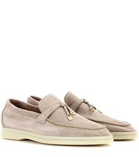 Loro Piana Summer Charms Walk Suede Loafers Beige
