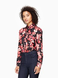 Kate Spade Shadow Buds Silk Shirt Black