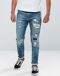 Scotch And Soda Ripped Skinny Fit Jeans Blue