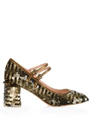 Rochas Sequin Embellished Block Heel Pumps Gold