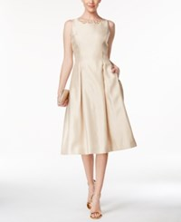 Tahari By Arthur S. Levine Asl Beaded Satin Fit And Flare Midi Dress Champagne