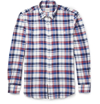 Hardy Amies Checked Button Down Collar Brushed Cotton Shirt Blue