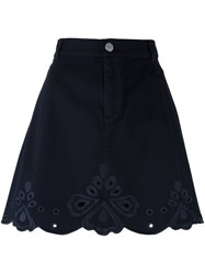 See By Chloe Embrodiered A Line Skirt Blue