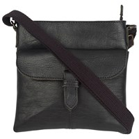 Fat Face Mini Flap Over Leather Cross Body Bag Black