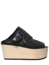 Marsell 80Mm Perforated Leather Wedge Mules