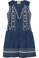Sea Crochet Trimmed Embroidered Silk And Linen Blend Mini Dress