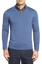John W. Nordstromr Men's Big And Tall Nordstrom Merino Wool V Neck Sweater Navy Crown