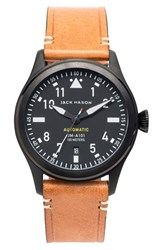 Jack Mason Brand Men's 'Aviation' Automatic Leather Strap Watch 42Mm
