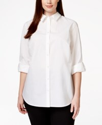 Charter Club Plus Size Roll Tab Sleeve Button Down Shirt Only At Macy's
