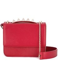 Salar Studded Handle Crossbody Bag Red